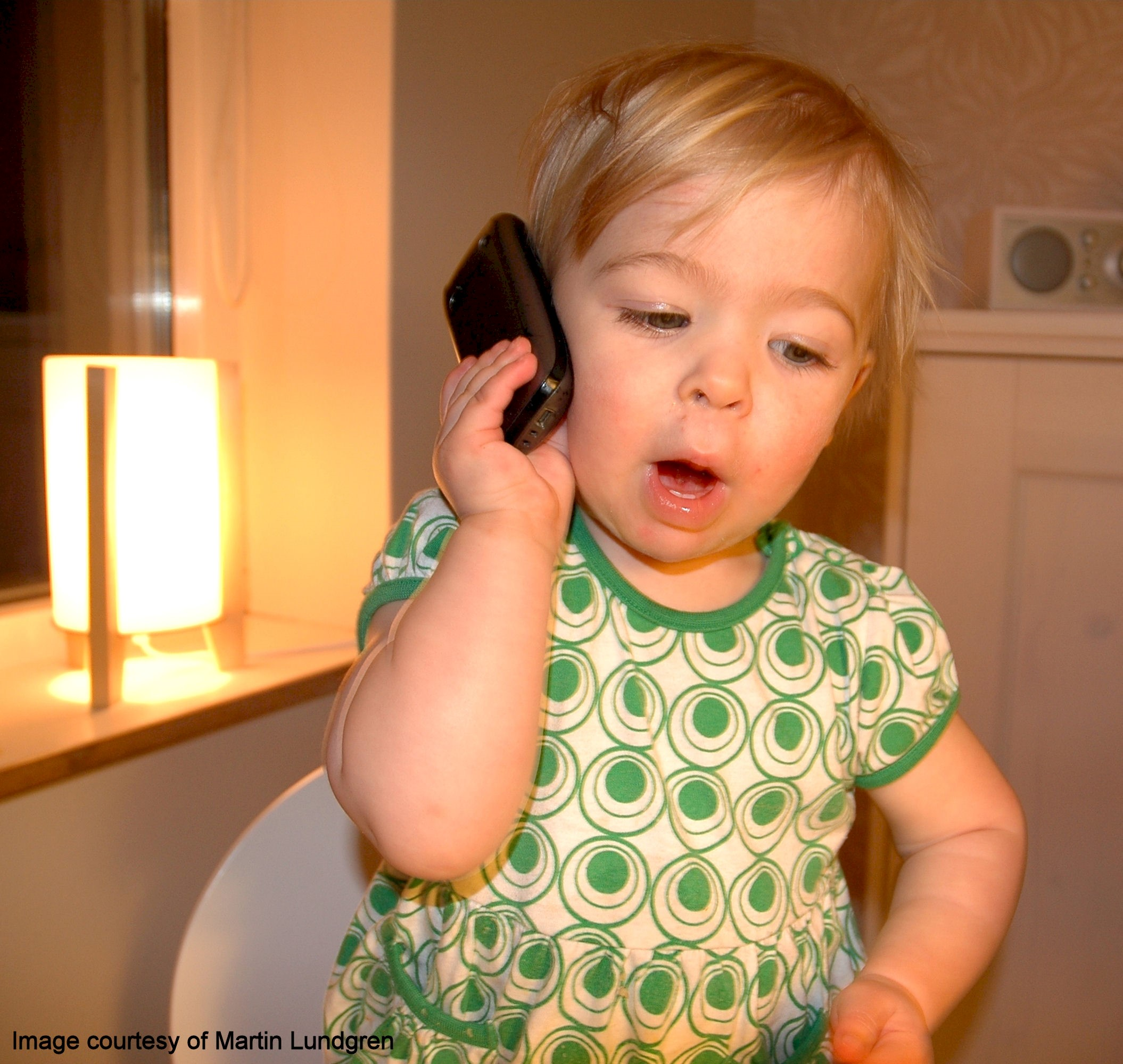 15 month old girl on the phone
